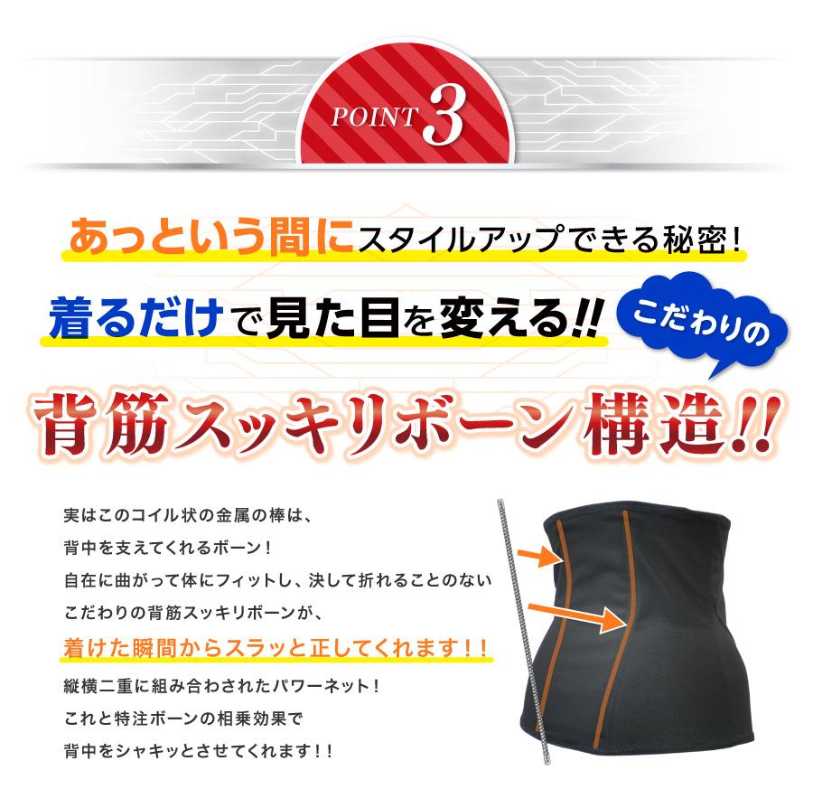 Vアップシェイパーの特徴3:着るだけで見た目が変わる背筋スッキリボーン構造